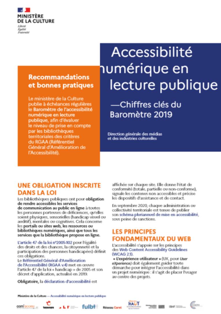 Accessibilité numérique en lecture publique. Chiffres clés 2019 et recommandations