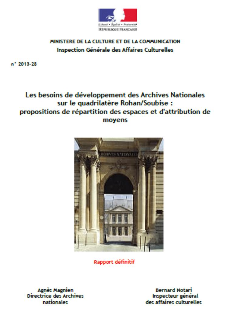 Les besoins de développement des Archives Nationales sur le quadrilatère Rohan/Soubise