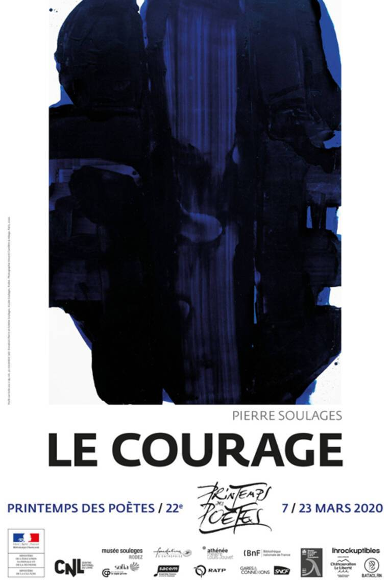 Le Courage affiche de l'édition 2020 du Printemps des poètes créée par Pierre Soulages