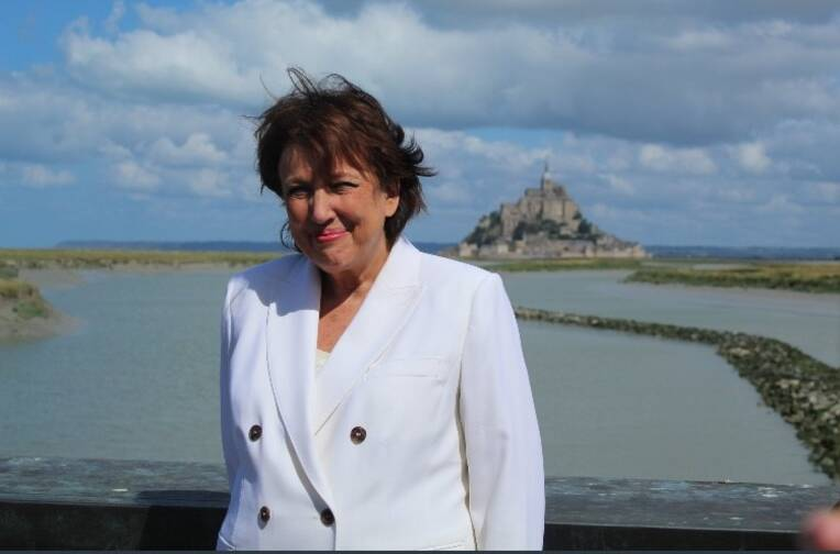 Roselyne Bachelot-Narquin, ministre de la Culture, en déplacement dans la Manche