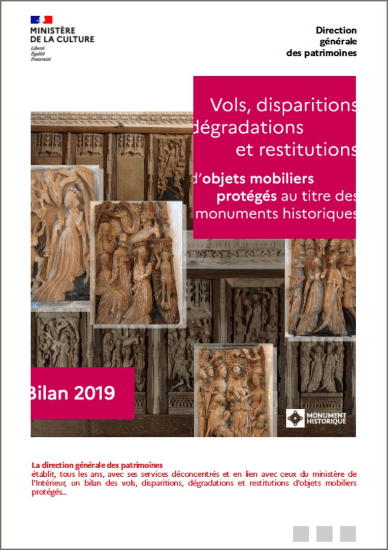 Vols, disparitions, dégradations et restitutions d'objets mobiliers - Bilan 2019