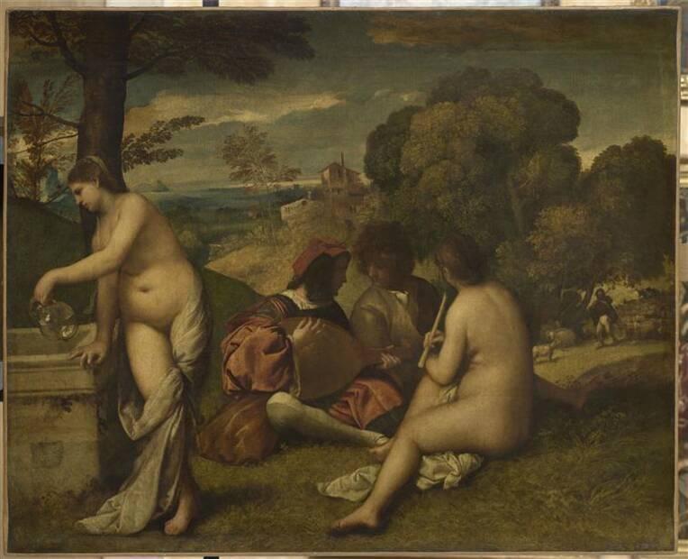 Le Concert champêtre, Vecellio Tiziano, Titien (dit) (vers 1489-1576), Huile sur toile, 105 x 136 cm, Paris, musée du Louvre (INV 71)