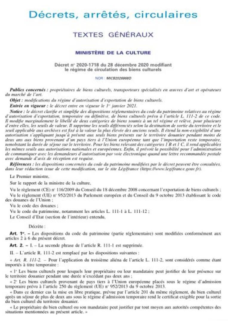 Décret n°2020-1718 du 28 décembre 2020 modifiant le régime de circulation des biens culturels, publié au JO du 29/12/2020