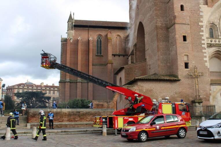 Exercice incendie à la cathédrale de Toulouse