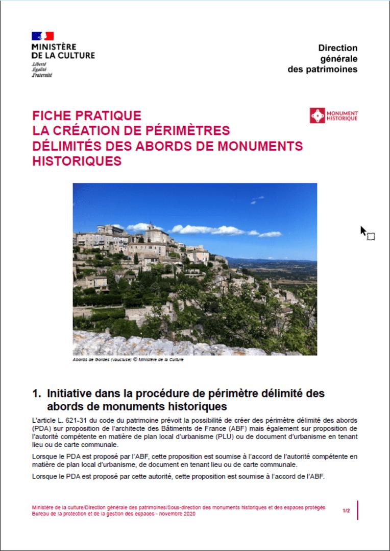 Fiche pratique - La création de périmètres délimités des abords de monuments historiques
