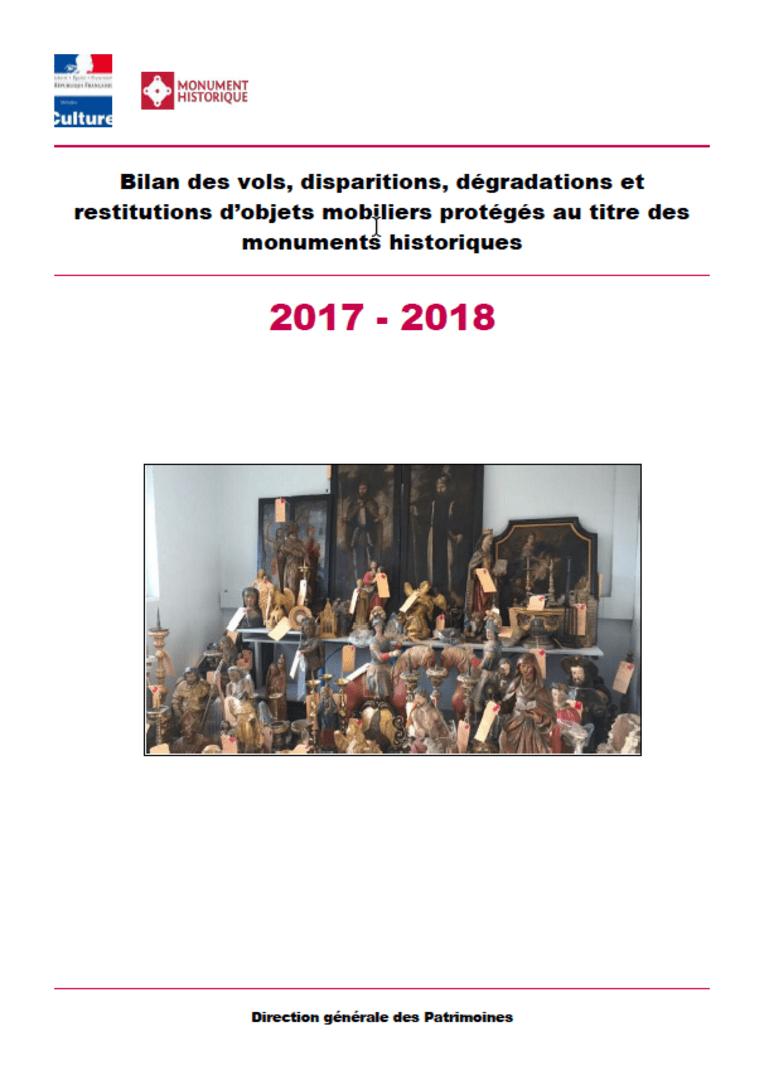 Bilan des vols, disparitions, dégradations et restitutions d'objets mobiliers protégés au titre des monuments historiques 2017-2018