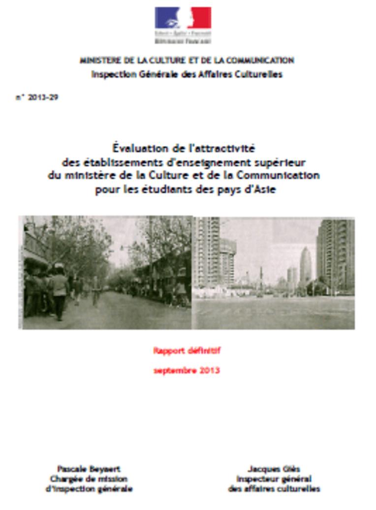 Evaluation de l'attractivité des établissements d'enseignement supérieur du ministère de la Culture et de la Communication pour les étudiants des p...