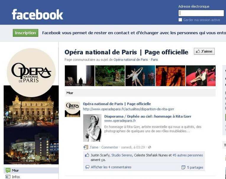 Page facebook de l'Opéra de Paris