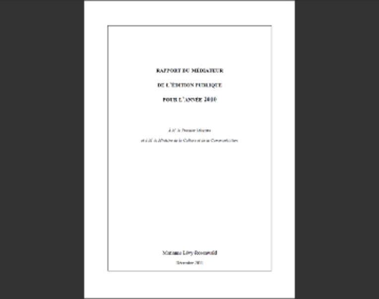 Rapport du médiateur de l'édition publique 2010