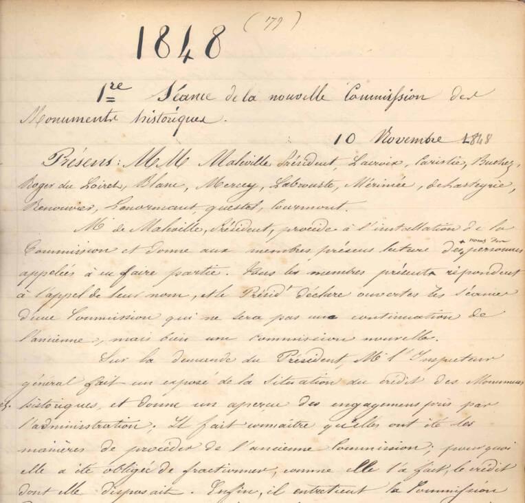 Procès verbal de la première séance de la commission des monuments historiques en date du 10 novembre 1848.