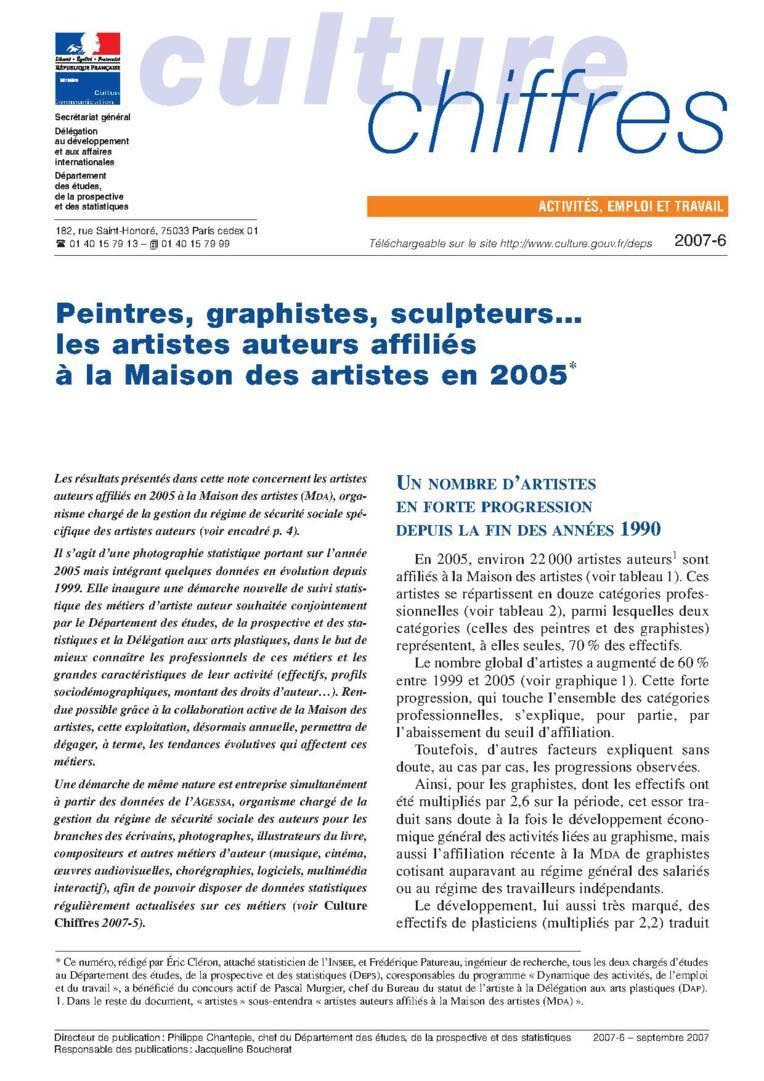 Peintres, graphistes, sculpteurs… les artistes auteurs affiliés à la Maison des artistes en 2005
