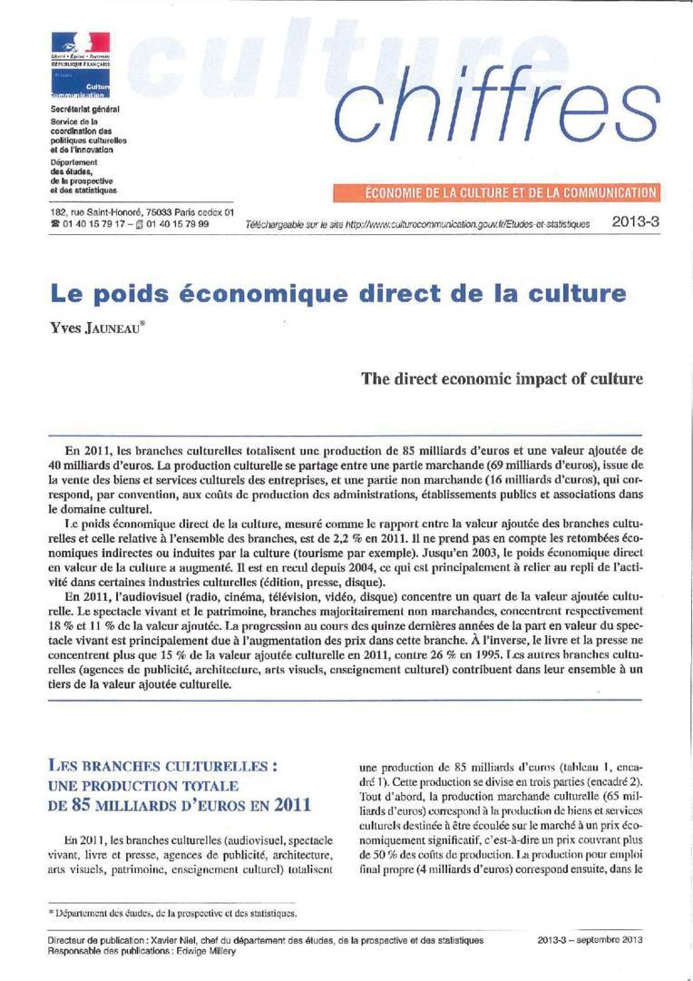 The direct economic impact of culture