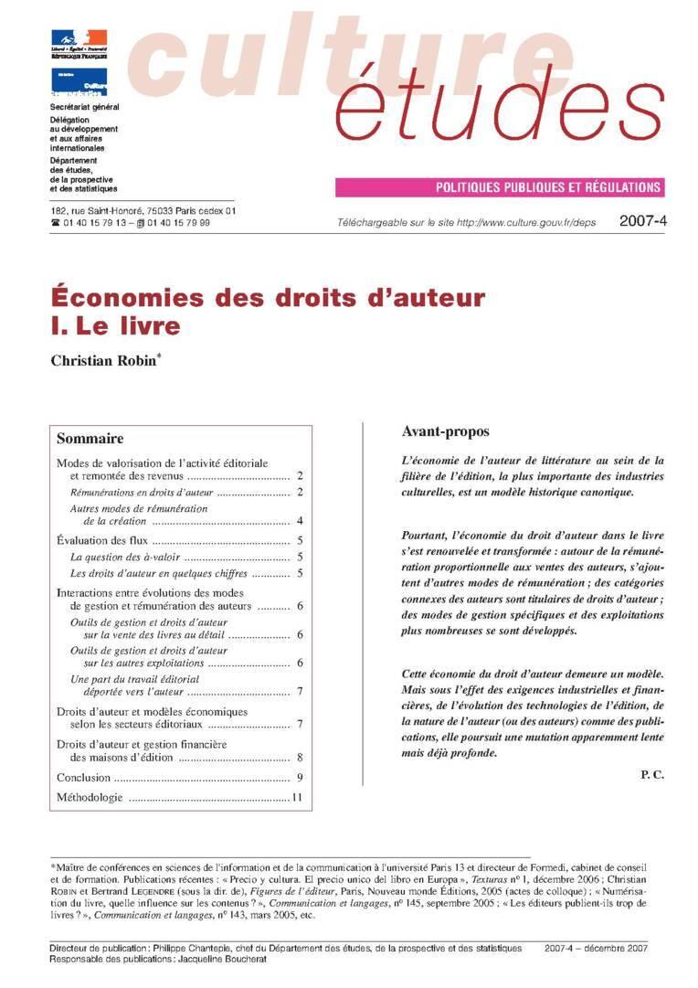 I. Économies des droits d'auteur : le livre