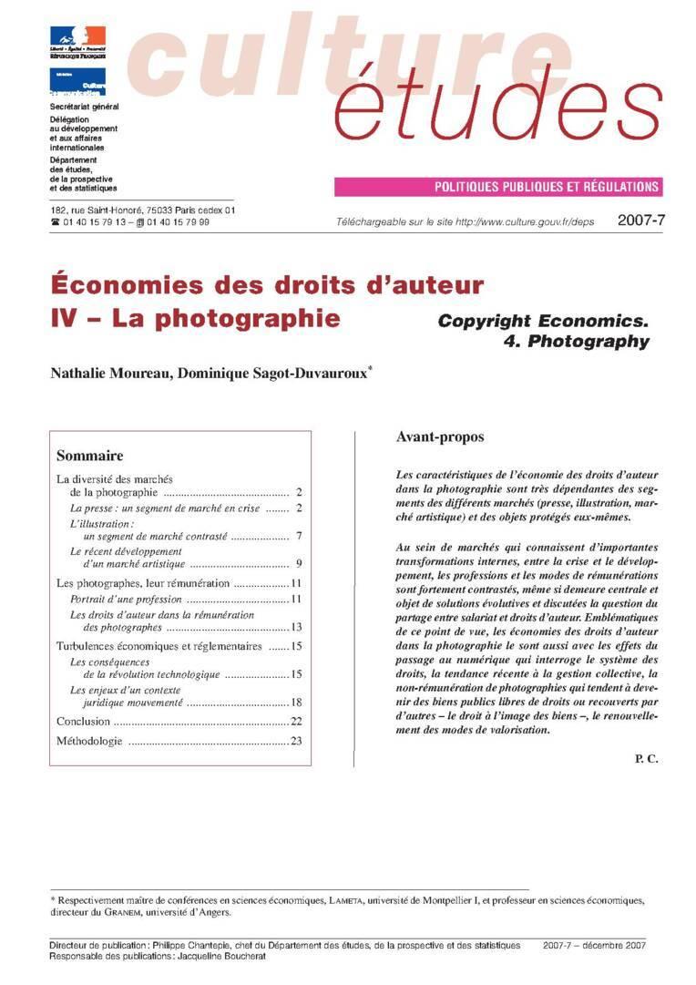 IV. Économies des droits d'auteur : la photographie
