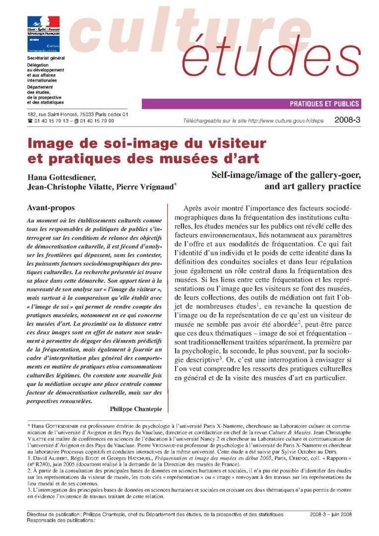 Image de soi – image du visiteur et pratiques des musées d'art