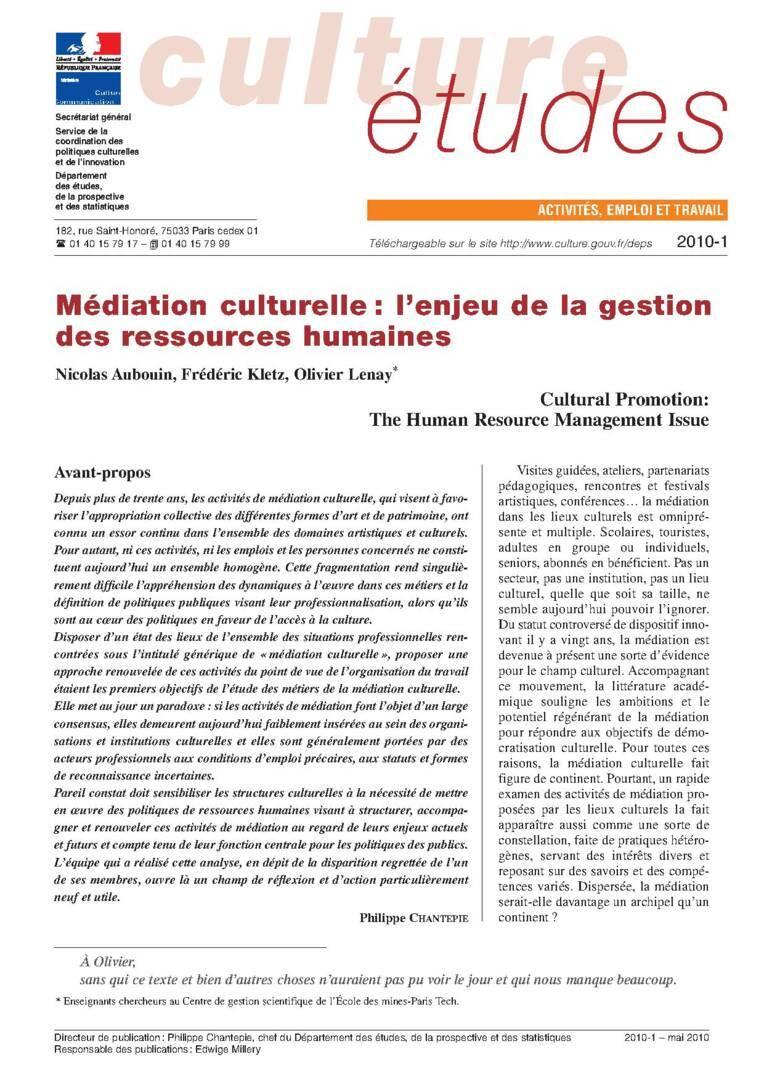 Médiation culturelle : l'enjeu de la gestion des ressources humaines