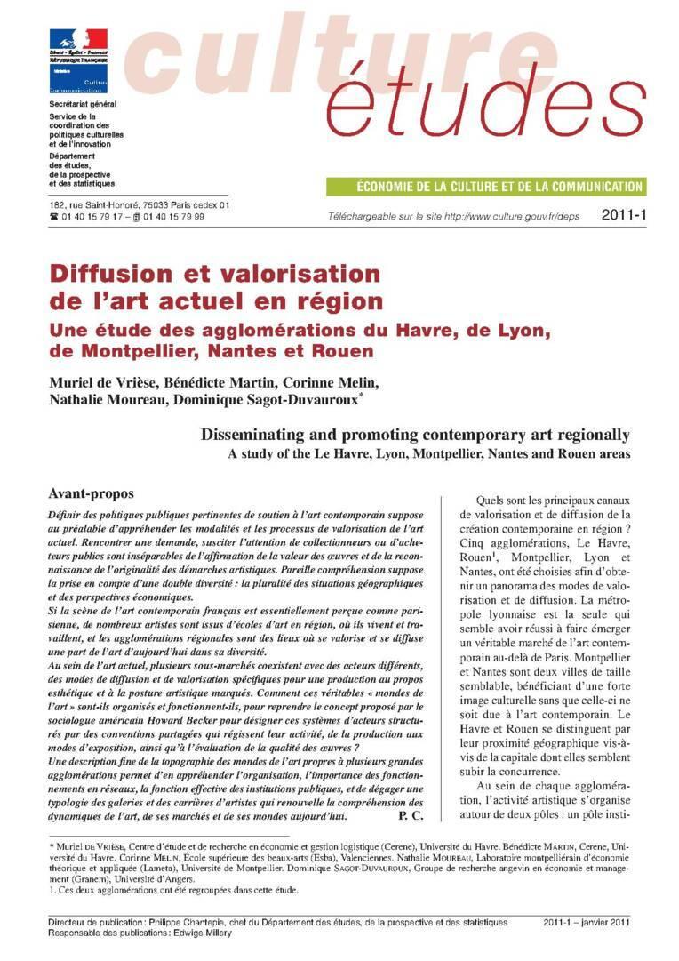 Diffusion et valorisation de l'art actuel en région. Une étude des agglomérations du Havre, de Lyon, de Montpellier, Nantes et Rouen