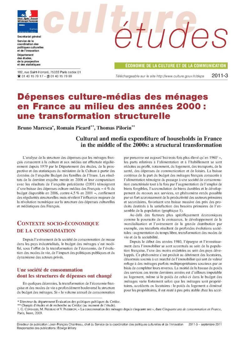 Dépenses culture-médias des ménages au milieu des années 2000 : une transformation structurelle