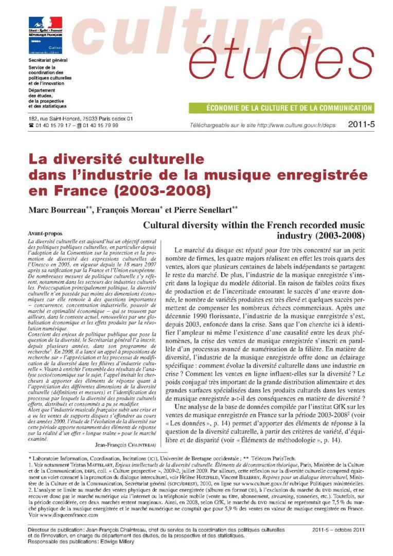La diversité culturelle dans l'industrie de la musique enregistrée (2003-2008)
