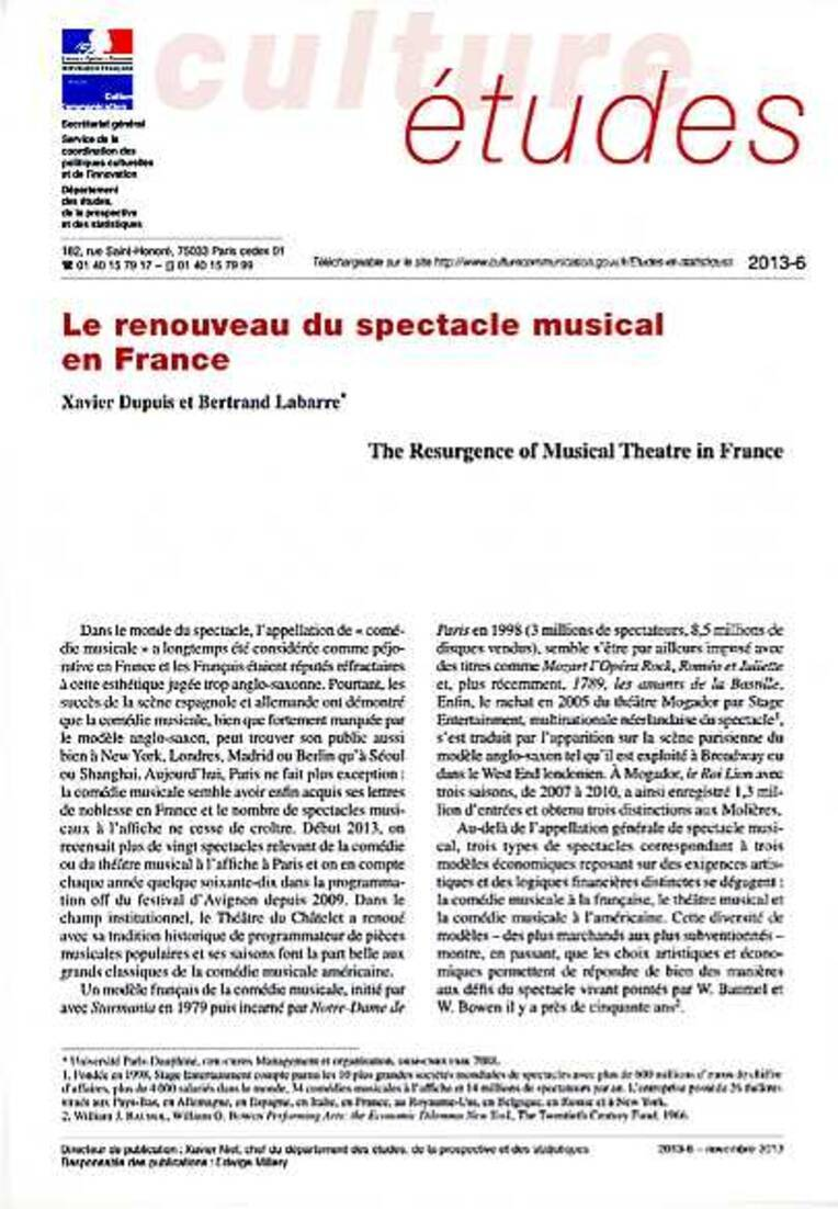 The Resurgence of Musical Theatre in France [CE-2013-6]