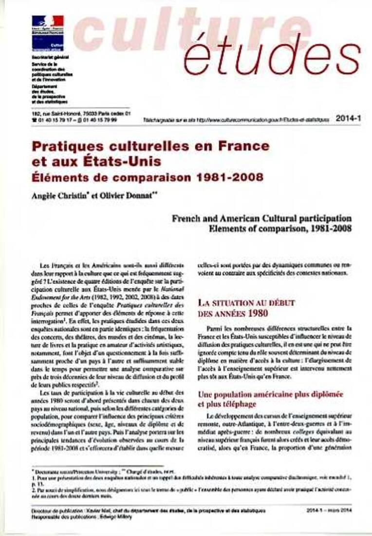 Pratiques culturelles en France et aux États-Unis. Éléments de comparaison 1981-2008 [CE-2014-1]
