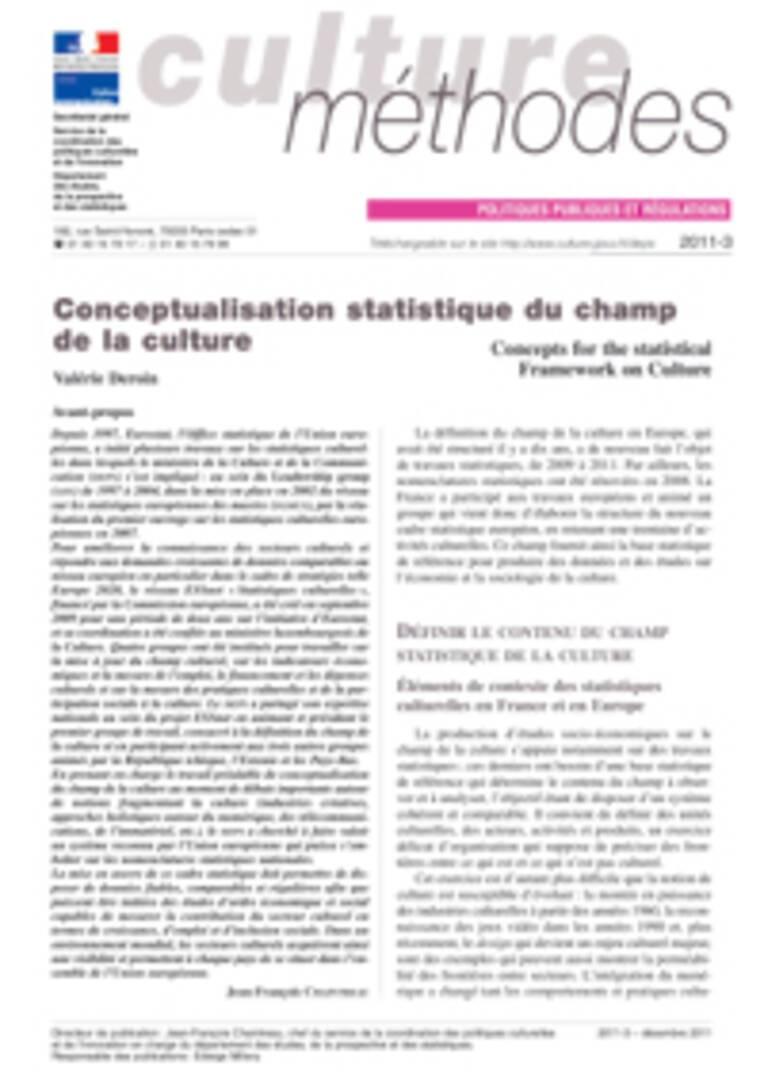 Conceptualisation statistique du champ de la culture