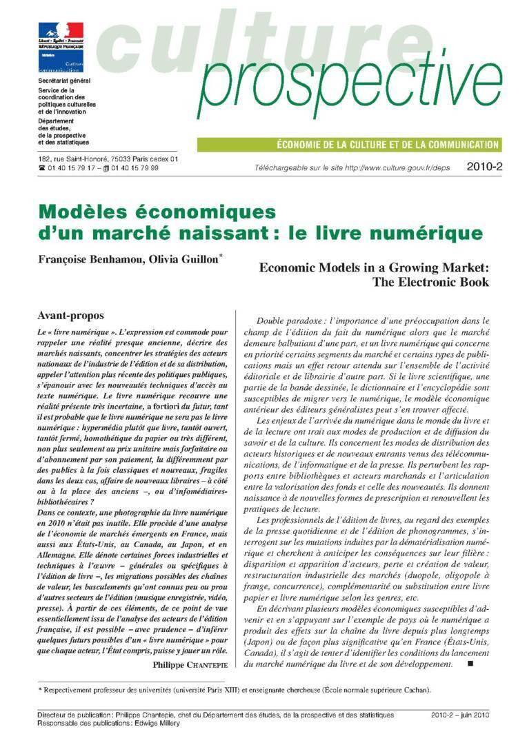 Modèles économiques d'un marché naissant : le livre numérique