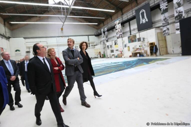 Lancement de la Cité du Théâtre sur le site Berthier par François Hollande, Président de la République et Audrey Azoulay, ministre de la Culture et de la Communication
