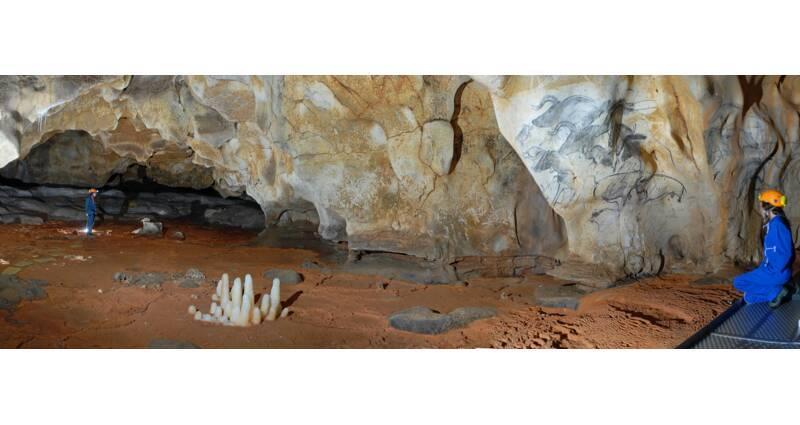 La salle du Crâne et le panneau des Chevaux. Dans cet important volume souterrain, les banquettes argileuses grises forment un amphithéâtre naturel autour de la salle et du crâne en position centrale.