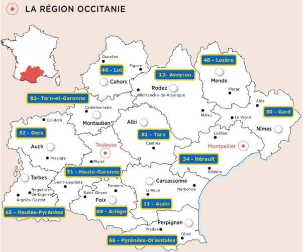 Les préfectures de la région Occitanie