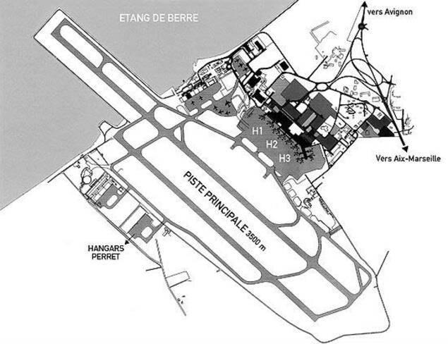 Aéroport Marseille-Provence - Marignane, plan d'ensemble de l'aéroport