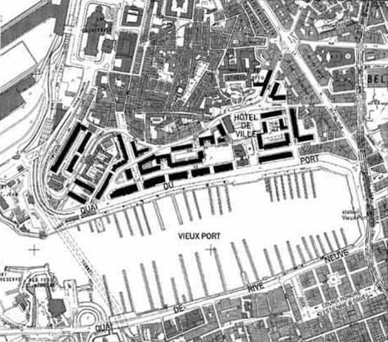 Immeubles du quai du port - Marseille, plan d'ensemble