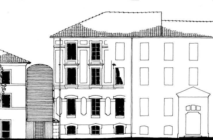 Bâtiment principal, escalier et début d'extension