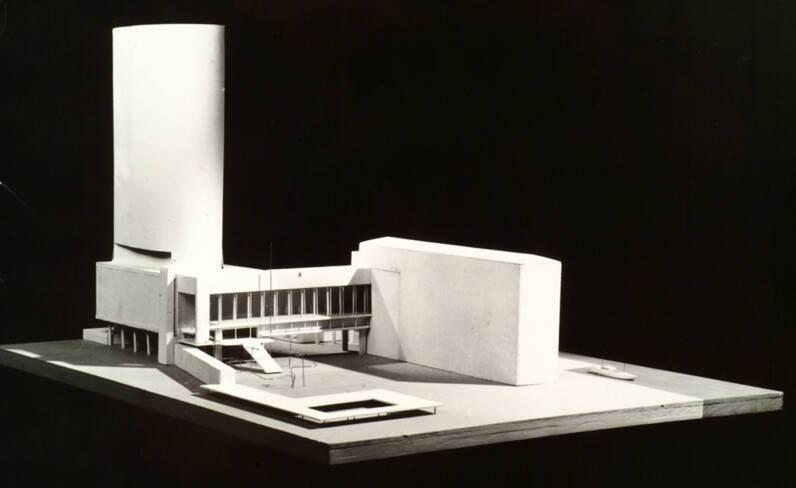 Maquette du projet de Mailly -  la tour monumentale du centre administratif