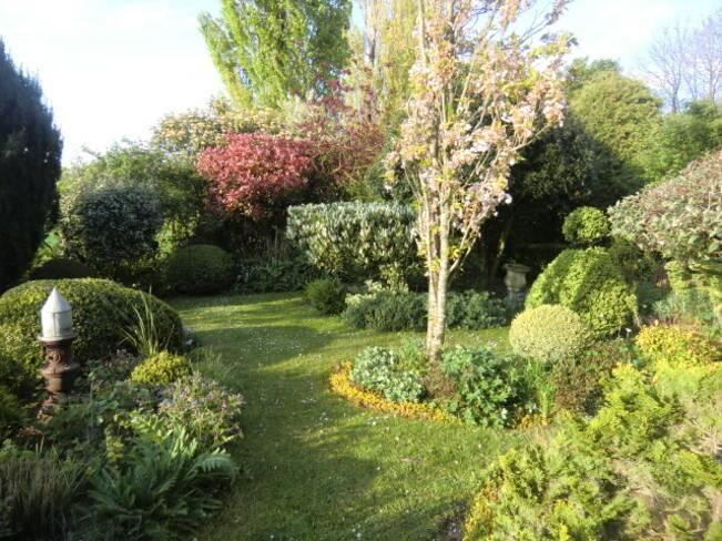 Somme, Allonville, jardin entre charmilles et buis