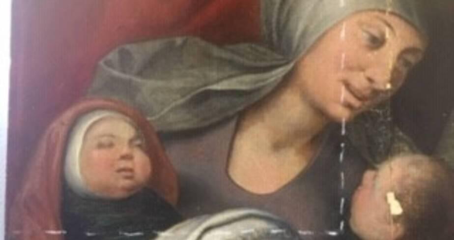 Panneau peint « Les Trois Marie » - Eglise Saint-Jean-Baptiste de Bar-sur-Seine (Aube) détail avant restauration