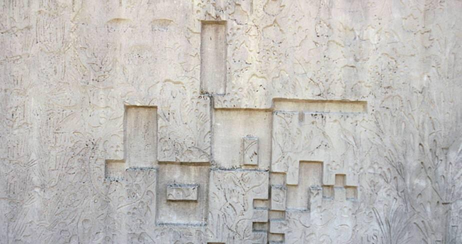 Lycée agricole François Pétrarque - Avignon, plan de l'édifice : bas relief en ciment moulé