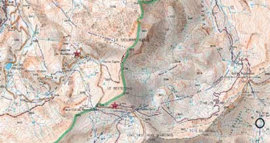 Ouvrage de Restefond - Jausiers, plan de situation d'après la carte IGN 3539