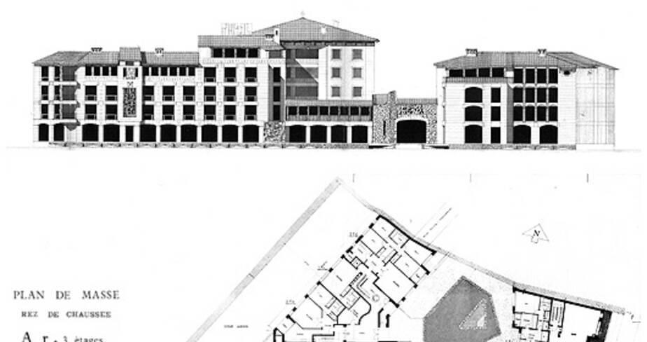 Résidence San Miguel - Avignon, façade sur rue et plan du rez-de-chaussée