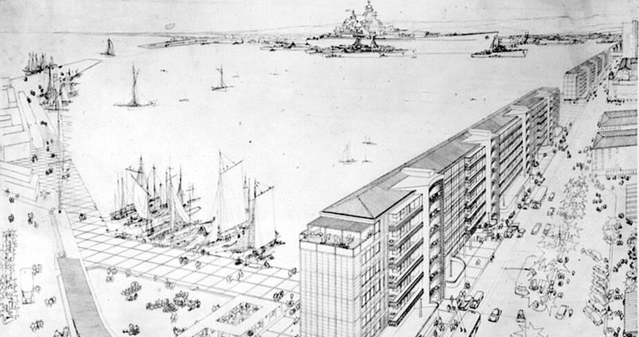 Dessin en perspective des immeubles du nouveau front de mer de Toulon