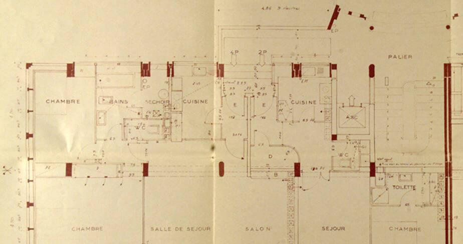 Plan au sol d'un étage courant