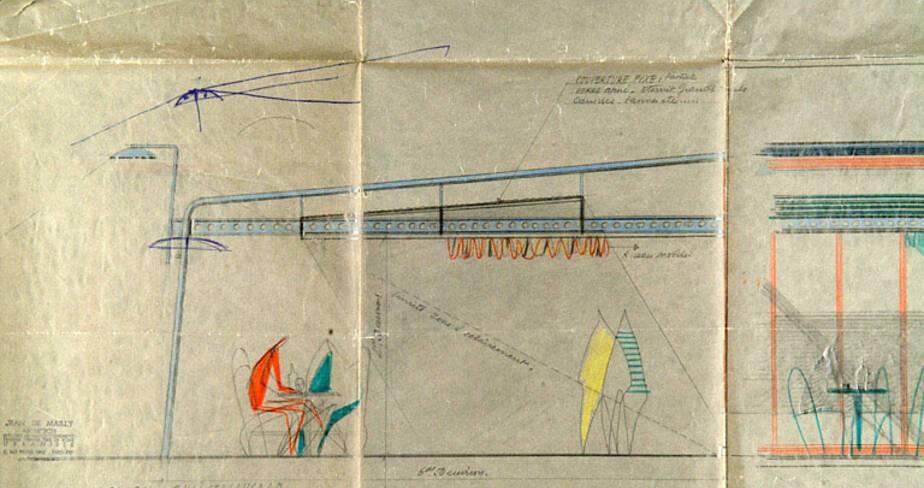 Plan des portiques tubulaires prévus par de Mailly pour les terrasses des commerces