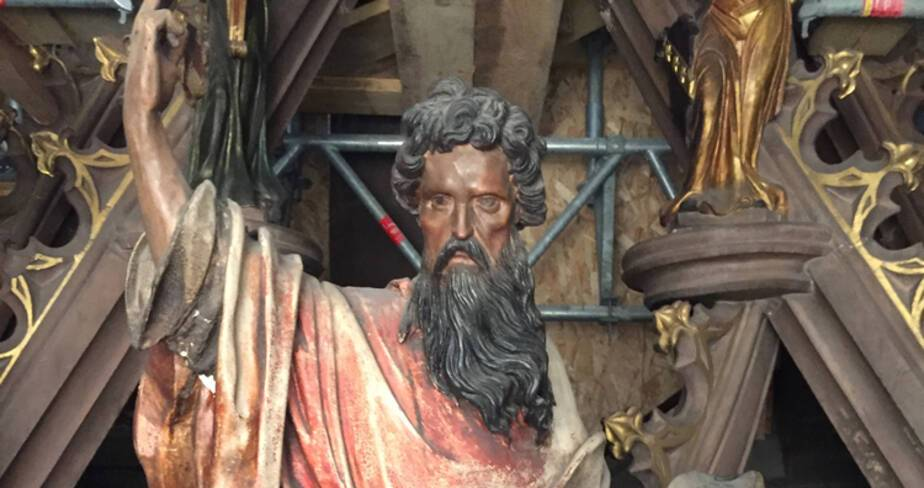 Cathédrale de Strasbourg. Horloge astronomique. Statut Isaie avant intervention