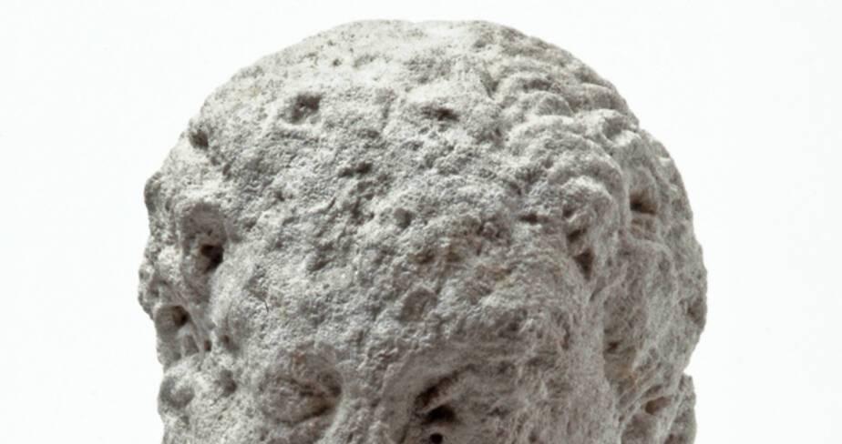 Vue rapprochée d'une tête barbue d'Hercule découverte dans le puits à dromos LX à Glanum.