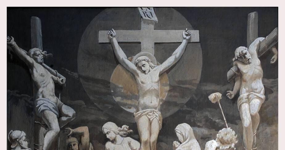 Eglise de Valsonne - Bas-côté nord, douzième station : Jésus meurt sur la croix