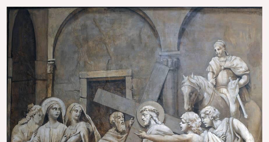 Eglise de Valsonne - Bas-côté nord, huitième station : Jésus console les filles d'Israël qui le suivent