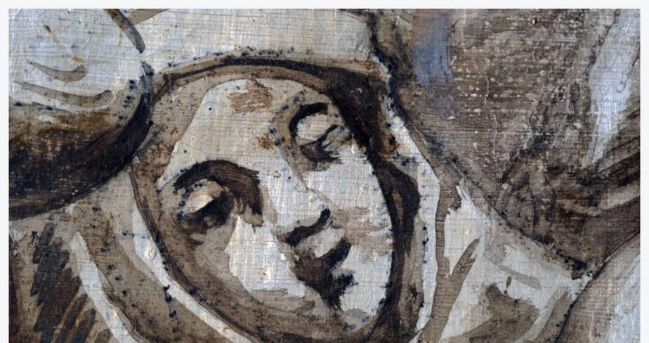 Bas-côté nord, le Purgatoire (détail) : traces de poncifs et mise en place des volume des personnages