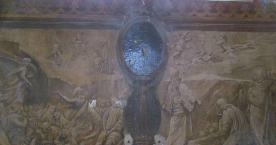 Eglise de Valsonne - Bas-coté nord, le Purgatoire et l'Invite au chemin de croix, avant restauration