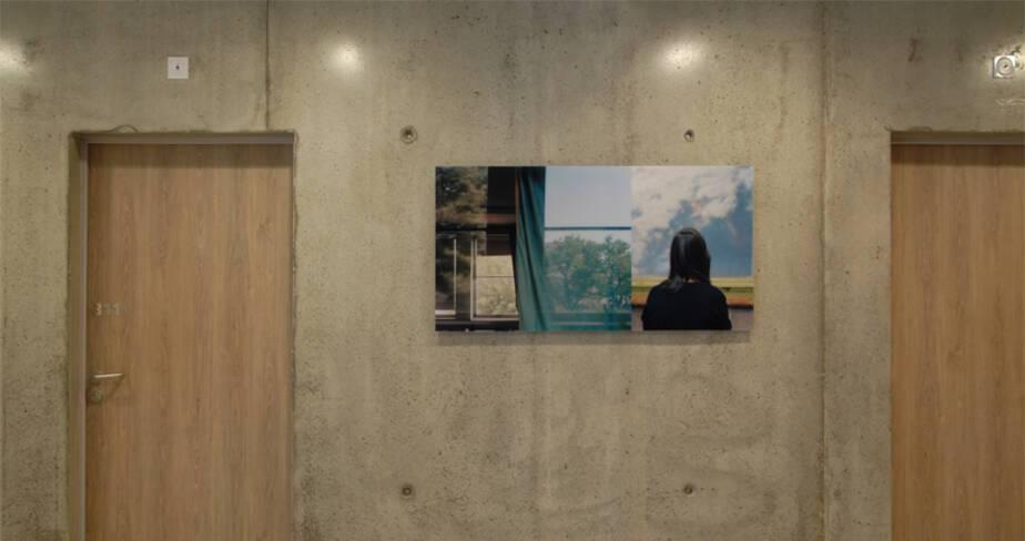 Eclaircie en hiver 2013 - 1% artistique Oeuvre d'Yveline Loiseur pour l' Internat du Lycée Lumière à Lyon - étage 3