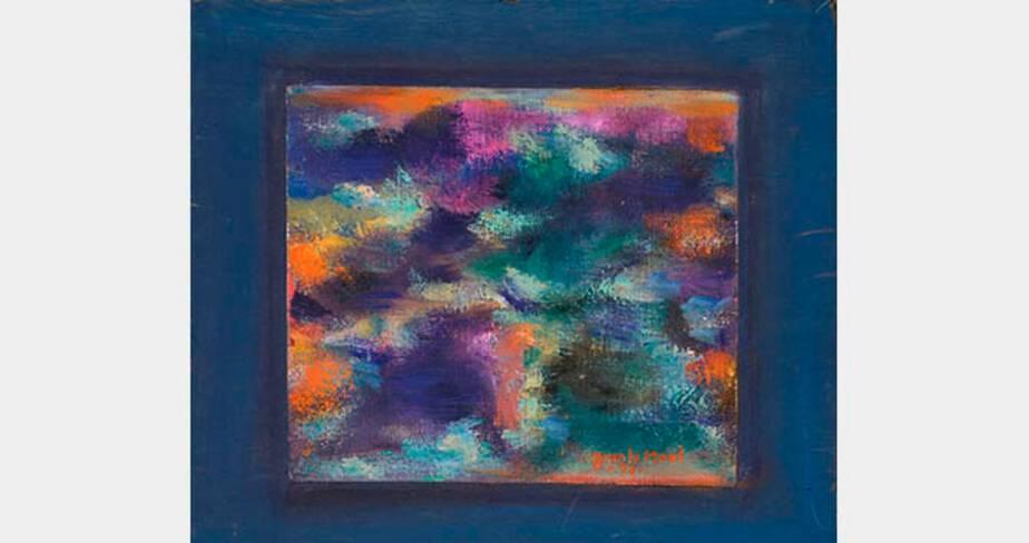 Jean Le Moal, Sans titre, 1990, huile sur toile marouflée sur contreplaqué, 26,5x30 cm, collection particulière